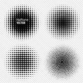 stock photo of circle shaped  - Set of Black Abstract Halftone Circles Logo - JPG
