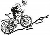 picture of biker  - Vector drawing of mountain biker driving uphill - JPG