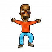 retro comic book style cartoon old man waving arms