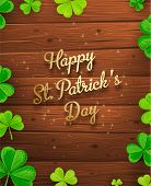 St. Patrick's Day Background with Wood Texture.