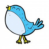 retro comic book style cartoon singing bird