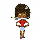 retro comic book style cartoon woman with knife between teeth