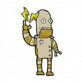 retro comic book style cartoon old robot
