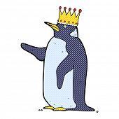 retro comic book style cartoon penguin wearing crown