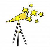 retro comic book style cartoon telescope