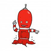 retro comic book style cartoon alien spaceman