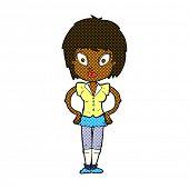 retro comic book style cartoon pretty girl