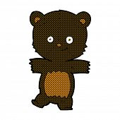 retro comic book style cartoon cute black teddy bear