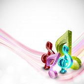 Shiny stylish 3D musical notes with pink waves on shiny grey background.