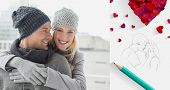 Cute couple in warm clothing hugging woman smiling at camera against sketch of kissing couple with pencil
