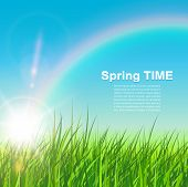 Spring natural background, sunny vector illustration.