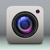 Photo camera icon - vintage, retro vector design.