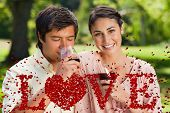 Woman smiling while her friend is drinking wine against love spelled out in petals