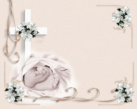 foto of baptism  - Image and illustration composition for baby baptism or christening invitation template with baby feet - JPG