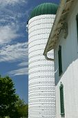 picture of silos  - The  grain silo is attached to the barn on this small farm in rural Ohio - JPG