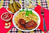 picture of meatball  - Pasta with meatballs tomato sauce cucumber and garlic - JPG