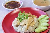 stock photo of steam  - Oiled rice with steamed chicken - JPG