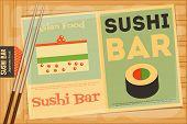 stock photo of sushi  - Sushi Poster on Wooden Background - JPG