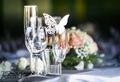 image of funeral  - Laid table at a wedding funeral reception - JPG