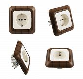 picture of electric socket  - Electrical plastic socket with the wood - JPG