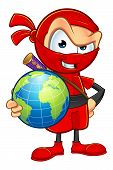 stock photo of ninja  - An illustration of a sneaky cartoon Ninja character dressed in red - JPG