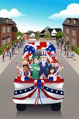 image of parade  - A vector illustration of kids in a parade celebrating Fourth of July - JPG