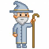 stock photo of wizard  - Pixel wizard for games and design - JPG