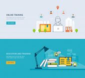 picture of online education  - Flat design modern vector illustration icons set of online education - JPG