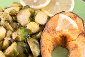 pic of brussels sprouts  - Steak of a trout with roasted brussels sprouts and lemon - JPG