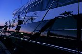 Постер, плакат: Yacht in the marina after sunset in Finland