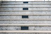 stock photo of staircases  - Gray marble staircase a marble staircase in the center air vents - JPG
