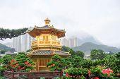 picture of hong kong bridge  - The Golden pavilion and red bridge in the Nan Lian Garden near the Chi Lin Nunnery a famous landmark in Hong Kong - JPG