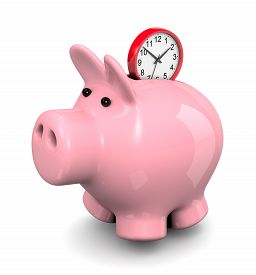 pic of time-saving  - Red Round Clock Entering Pink Piggy Bank 3D Illustration on White Background Save Time Concept - JPG