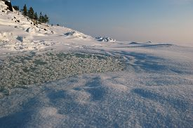 picture of murmansk  - Landscape made on seashore of White Sea in winter, Russia, Murmansk ** Note: Visible grain at 100%, best at smaller sizes - JPG