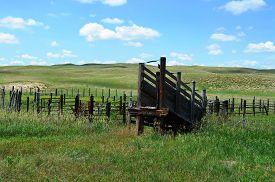 pic of western nebraska  - Livestock Loading Chute Ramp on a rural ranch in the prairie grasslands of Nebraska - JPG