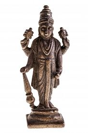 image of mahabharata  - an ancient indian divinity statuette isolated over a white background - JPG