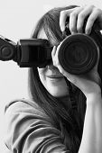 Girl With A Camera In Black And White