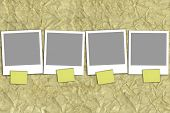 Four Empty Photographs With Yellow Notes