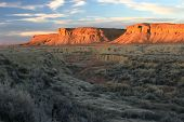 Arroyo And Buttes Sunset