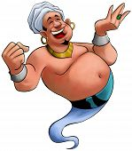 picture of genie  - happy fat genie smiley in the moment when he appears - JPG