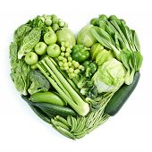 picture of healthy food  - heart shape form by various vegetables and fruits - JPG
