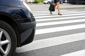 image of pedestrian crossing  - Zebra crossing - JPG