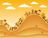 Editable vector illustration of a hilly town