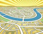 Editable vector illustration of a street map landscape
