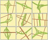 Set of road intersection illustrations