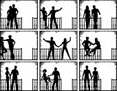 Set of editable vector illustrations of couples on a porch with people as separate objects