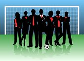 Editable vector illustration of a business team on a soccer pitch