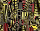 Editable vector illustration of tall city buildings at night