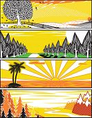 Set of banner illustrations of landscapes in popart style poster
