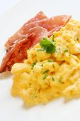 stock photo of scrambled eggs  - Scrambled eggs and bacon - JPG